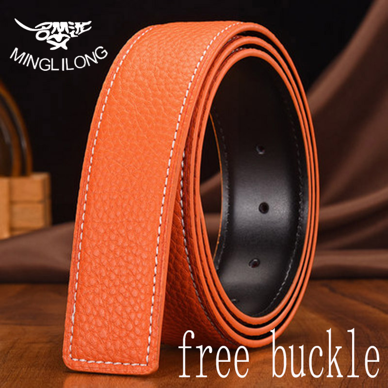MINGLILONG Top Layer Simple Belts Men Leather Strap H Buckle Cowskin Belts Male Belts