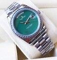 Роскошные брендовые новые мужские часы Daydate из нержавеющей стали автоматические механические сапфировые Серебристые Черные Серые зеленые ...