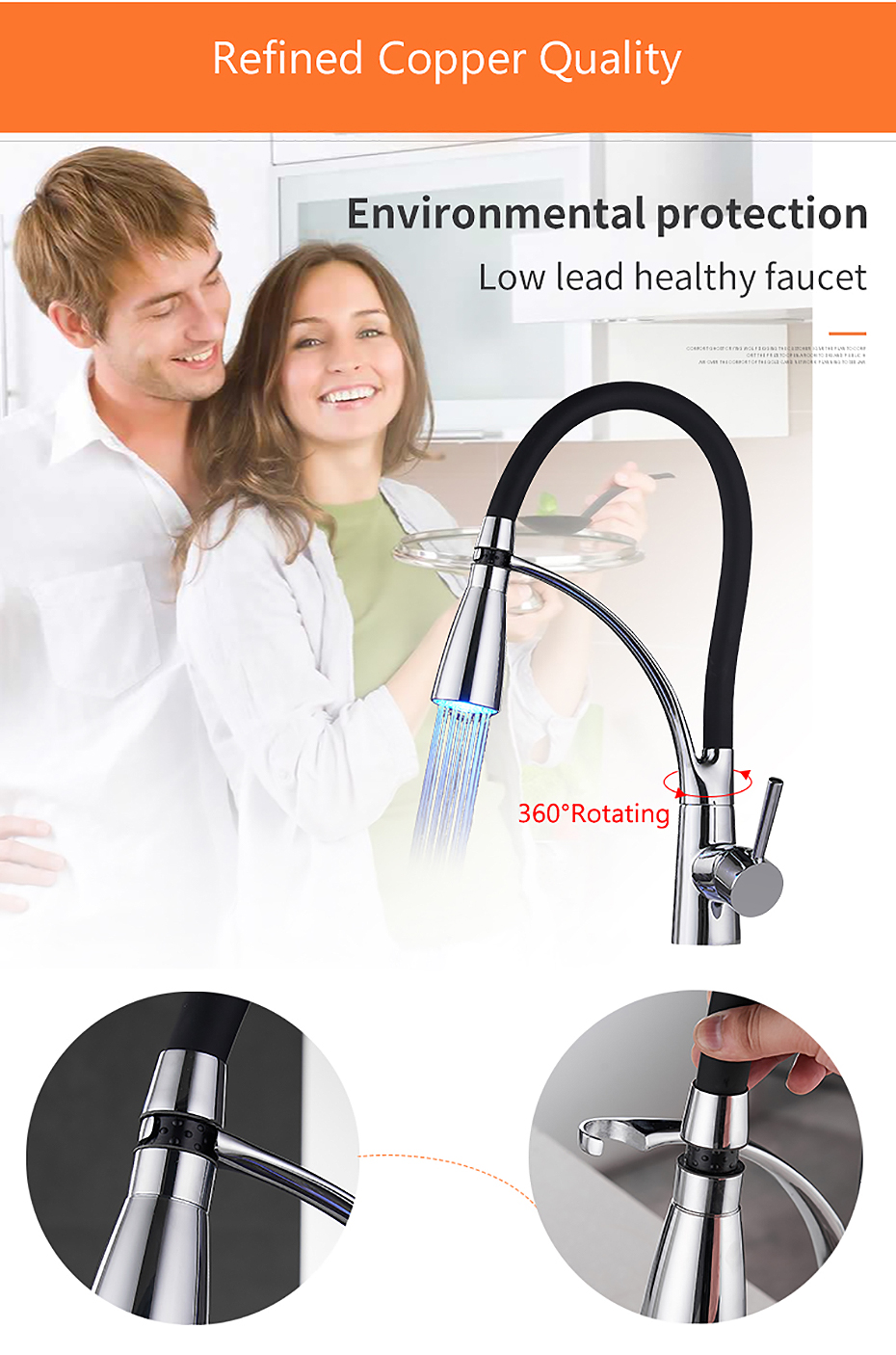 He53df235430642d0841378d484f1fc34E Kitchen Faucets with Rubber Design Chrome Mixer Faucet for LED Kitchen Single Handle Pull Down Deck Mounted Crane for Sinks 7661