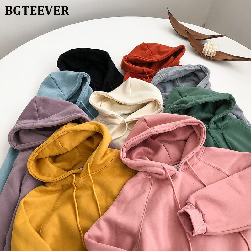 BGTEEVER Autumn Winter Sweatshirt Female Fleece Hoodies Loose Thicken Pullovers Sweatshirt Casual Women Warm Jacket Harajuku