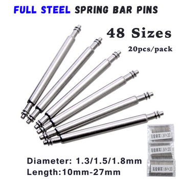 20pcs 10mm to 27mm Full Stainless Steel Spring Bar Release pins Watch Band Strap Replacement Straight Pin D1.3 1.5 1.8mm - discount item  42% OFF Watches Accessories