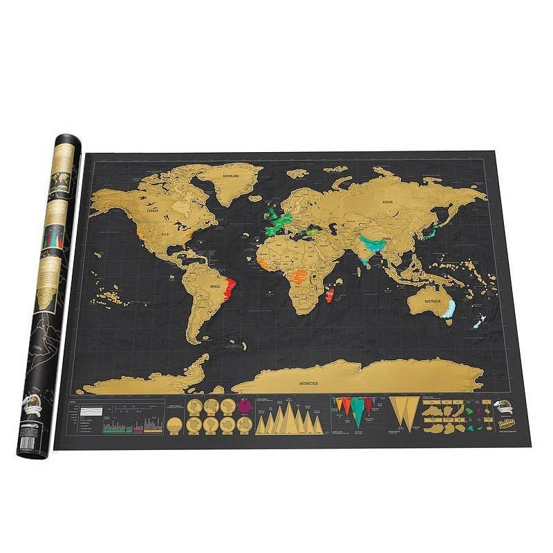 1 Piece Deluxe Black Scratch Off World Map 82.5 X 59.4cm Black Map Scratch With Cylinder Packing Room Decoration Wall Stickers