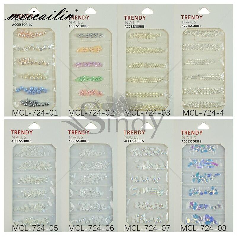 1 paket Renkli ABS İmitasyon İnci Karışık Boyutu 3D Nail Art Süslemeleri Inci Cam Rhinestones Çivi Aksesuarları Kristal Taşlar