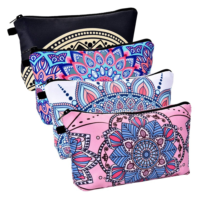 BEAU-4 Pieces Makeup Bag Waterproof Toiletry Pouch Cosmetic Bag With Mandala Flowers Patterns,4 Styles