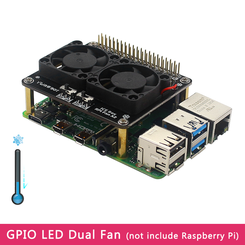 Raspberry Pi 4 Model B GPIO Extenstion Board Cooling Fan with Blue LED Light Switch Dual Fan Module for Raspberry Pi 4B 3B  3B