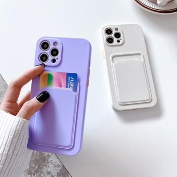 Etui na telefon iPhone 12 Mini 11 Pro X XR XS Max 7 8 Plus SE 2 moda portfel Funda z uchwytem na kartę miękka TPU na iPhone 11 etui tanie i dobre opinie N1986N APPLE CN (pochodzenie) Etui z portfelem Shockproof Protective Wallet Funda With Card Holder Contrast Color W stylu rysunkowym
