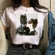 Summer Tops Cartoon Batman and Catwoman t shirt Women Harajuku Kawaii T-shirt Female White Funny T-s