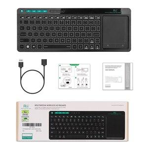 Image 5 - Rii K18 Plus Drahtlose Multimedia Englisch Russisch Spanisch Hebräisch Tastatur 3 LED Farbe Hintergrundbeleuchtung mit Multi Touch für TV Box,PC