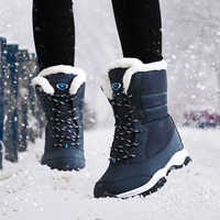 NAUSK Women Boots Non-slip Waterproof Winter Ankle Snow Boots Women Platform Winter Shoes with Thick Fur Botas Mujer