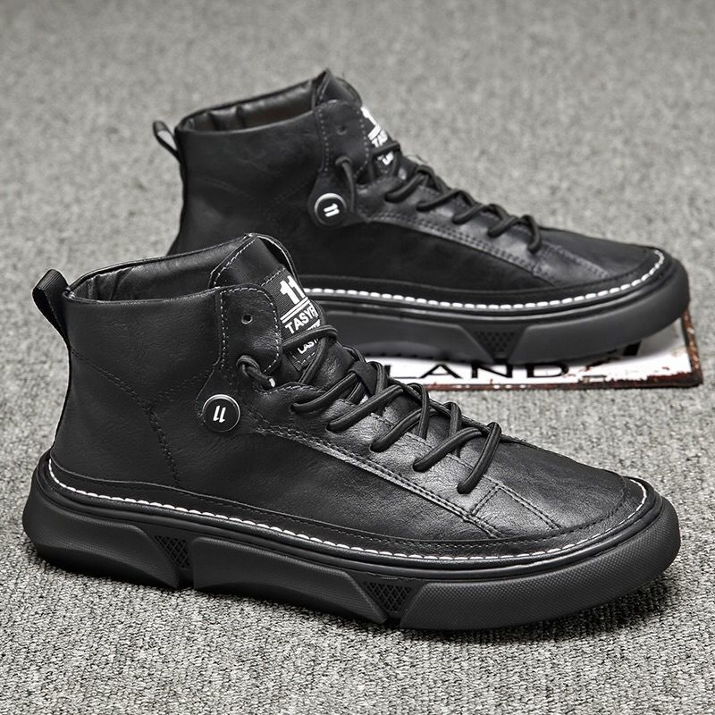 Winter Boots Men High Top Boot Casual Shoes Man Work Clothes Pure Black Tide Boots Men's British Style Boot Fashion Footwear