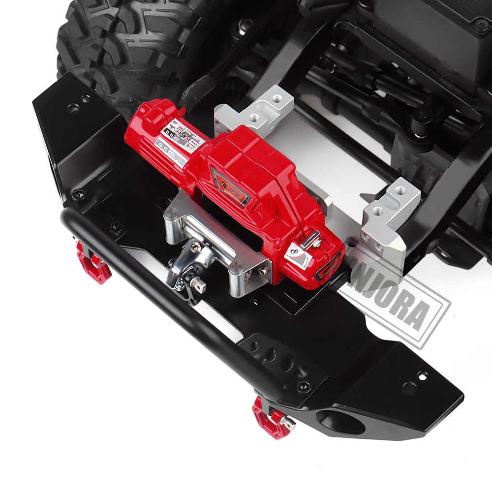 INJORA RC รถโลหะเหล็กลวดอัตโนมัติจำลอง Winch สำหรับ 1/10 RC Crawler Axial SCX10 90046 D90 Traxxas TRX4 redcat