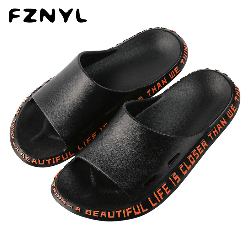 FZNYL 2019 Fashion Slippers Men Women Summer Outdoor Slides Shoes Male EVA Soft Comfortable Non-slip Beach Flip Flops Sandals