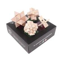 MITOYS 4 adet/takım 3D ahşap çocuklar için yap boz yetişkin bulmaca ahşap iq bulmaca beyin teaser eğitici oyuncaklar çocuklar için akıl oyunları