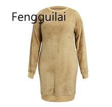 FENGGUILAI Autumn Winter Plush Sweater Dress Plus Size Women Party Bodycon Christmas Khaki Sexy  Knitted StraightDress For Femal