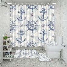 Retro Vintage náutico estampado de ancla baño ducha cortina Set impermeable antideslizante Pedestal alfombra tapa baño Mat Set