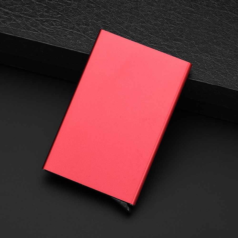 Posiadacz karty jakości ze stali nierdzewnej kredyt mężczyźni Slim Anti Protect identyfikator podróży posiadacz karty kobiety portfel Rfid Metal Case Porte Carte