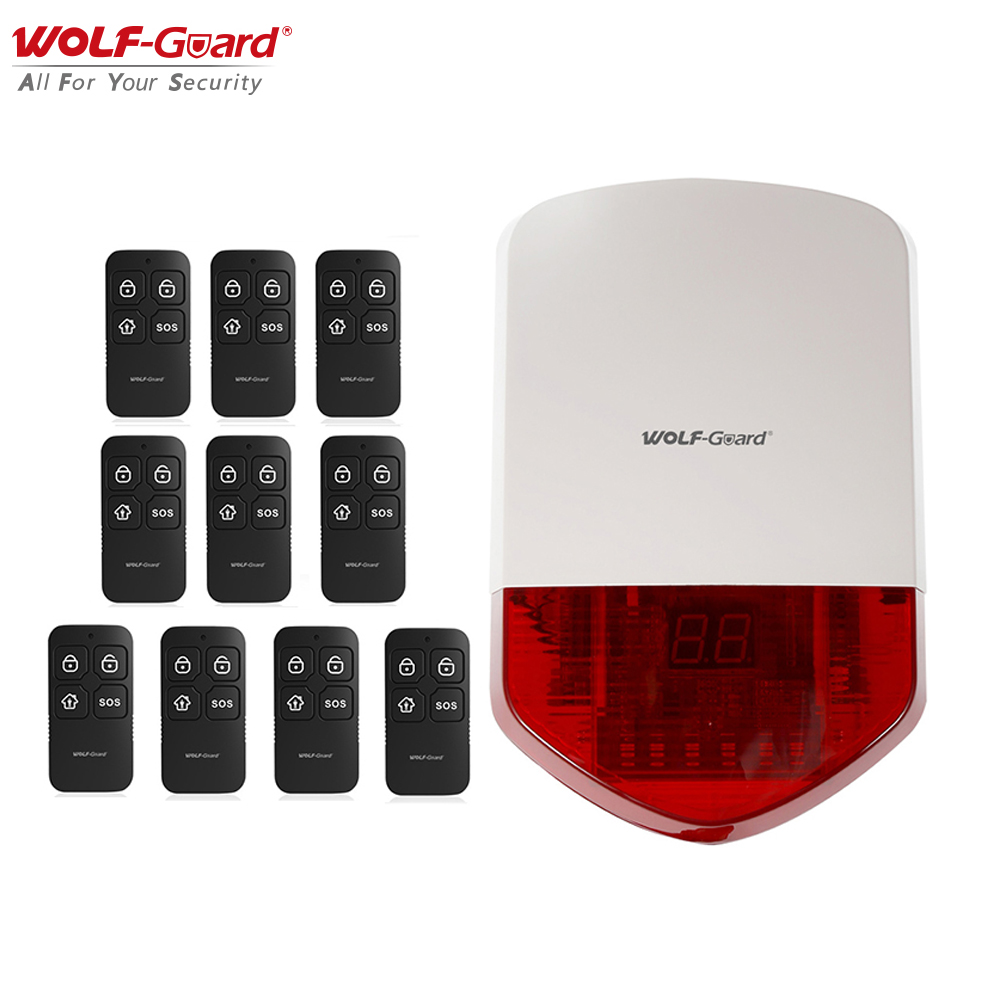 Wolf Guard Wireless Outdoor Alarm Siren 110db Home Security Alarm Burglar System Host Kit With 10 Remote Controller 433mhz Alarm System Kits Aliexpress