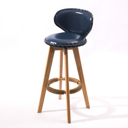 Bar Chair Solid Wood Bar Front Desk Chair Simple Tea Shop High Stool Home Rotating Creative Bar Chair