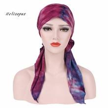 Helisopusแฟชั่นพิมพ์HeadscarfสำหรับสตรีมุสลิมยืดPre ผูกTurbanผ้าพันคออุปกรณ์เสริมผมหัวมะเร็งหมวกBonnet
