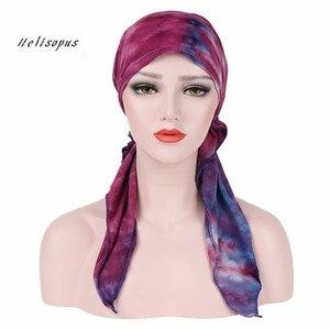 Image 1 - Helisopus Pañuelo estampado de moda para mujer, pañuelo de turbante elástico musulmán, accesorios para el cabello, para cabeza turbante, gorro para cáncer