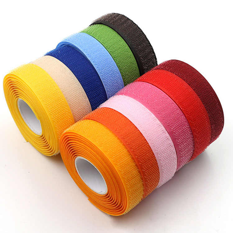 2cm * 1M Velcros colorido Nylon gancho bucle sujetador sin pegamento Sweing Magic Tape Cable ataduras costura-on tiras Accesorios