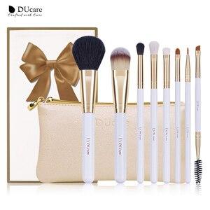 Image 1 - DUcare 8PCS Makeup Brushes Natural hair Makeup brush set with Bag Foundation Powder Brush Eyeshadow Brushes  Travel Makeup Set