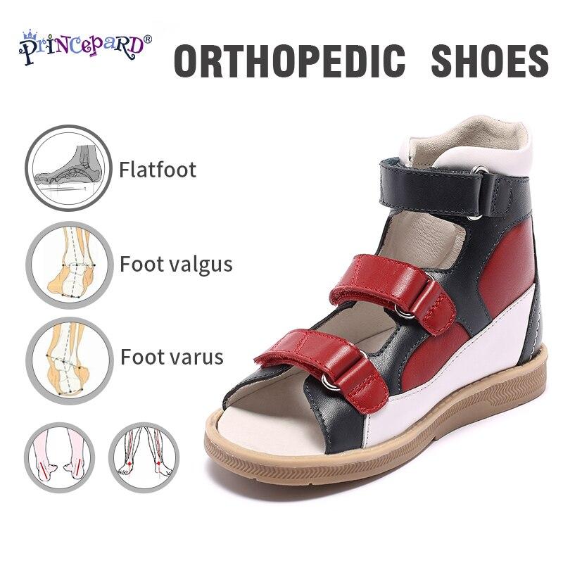 Original Princepard 2018 New Orthopedic Shoes For Children  Red And Black Orthopedic Footwear For Kids Girls Sandals