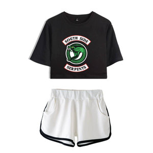 Image 4 - Fashion  American TV Riverdale Women Sexy Summer T Shirt  Woman New Suit Shorts Crop Fashion Top Shorts Two Piece Set