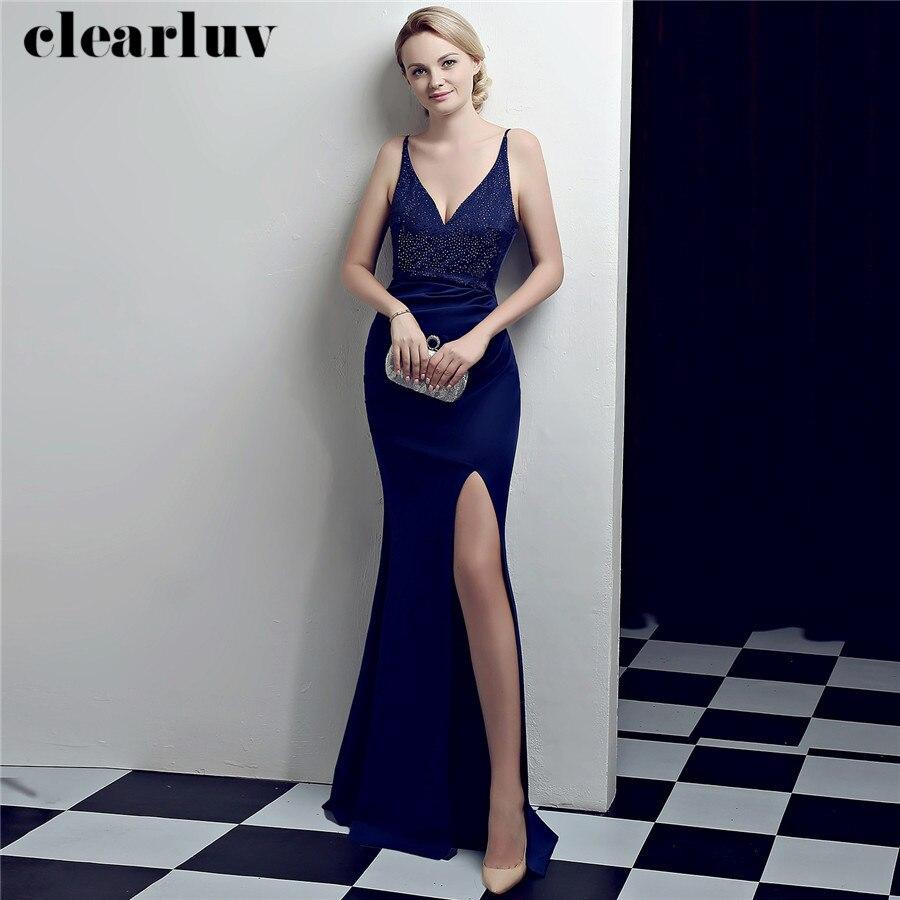 Robe De Soiree V-Neck Backless Evening Dresses Sling Prom Gowns DX324-5 2020 Plus Size High Side Split Floor Length Formal Dress