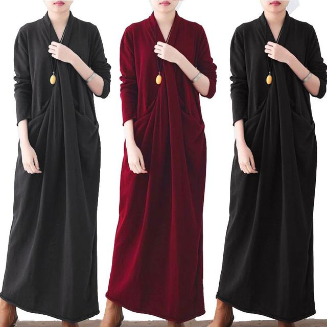 Women Sexy V Neck Sweater Dress Celmia Autumn Long Sleeve Casual Loose Sarafans Pleated Twisted Maxi Long Vestido Plus Size