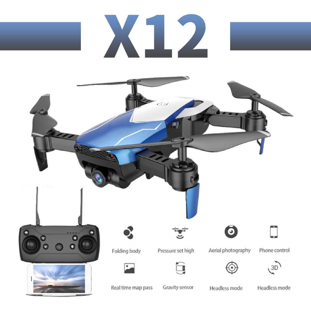 X12 cámara de gran angular profesional dron 720p HD WiFi FPV cepillo motor hélice batería larga aire RC dron Quadcopter