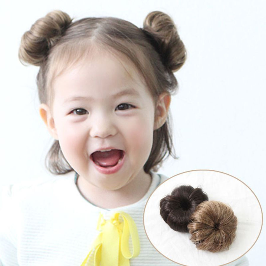 The Tide Girl Wig Female Baby Ball Head Hairpin Girl Summer Foreign Style Baby Hair Wig Small Clip Synthetic Chignon For White