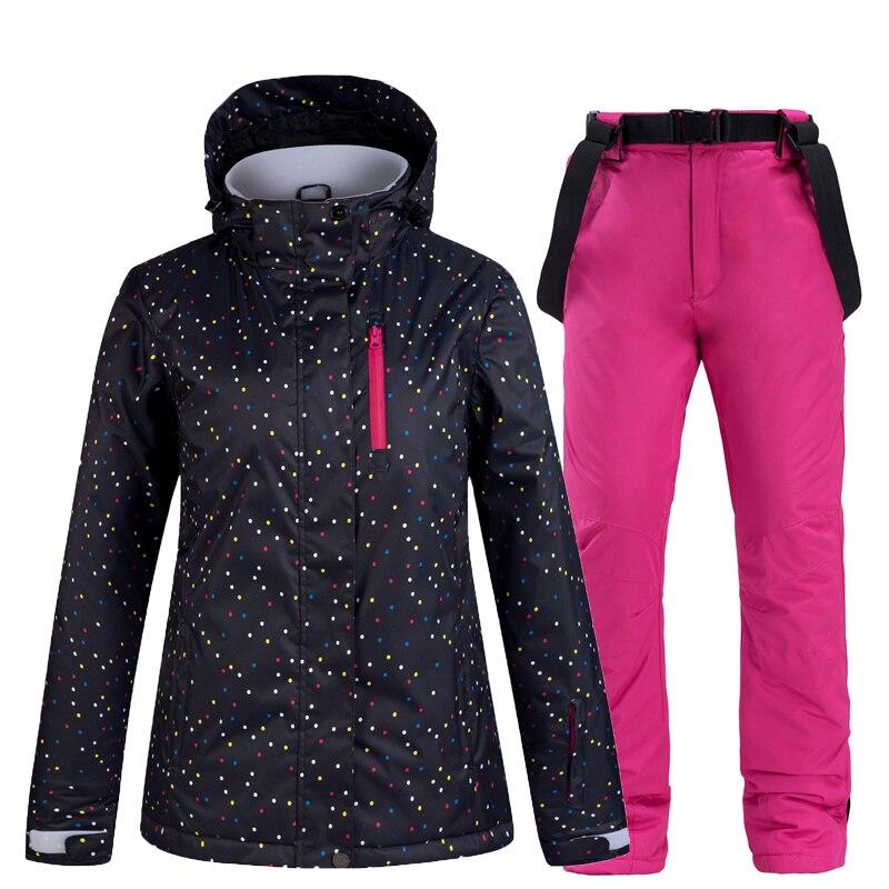 New Women's Ski Suit Thermal Ski Jacket Pants Set Windproof Waterproof Snowboarding Jacket Winter Female Skiing Suits Snow Coat