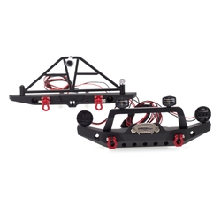 Metal Front Rear Bumper with 2 Led Lights for 1/10 RC Crawler Car TRX4 Axial SCX10 DXAD