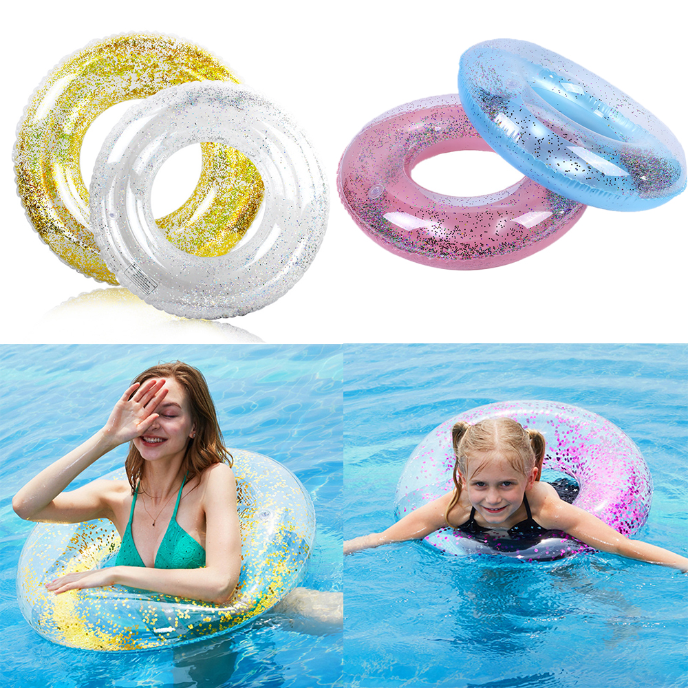 Baby Children Adult Transparent Sequins Swimming Ring Neck Ring Tube Safety Infant Float Circle For WaterBathing Inflatable Ring