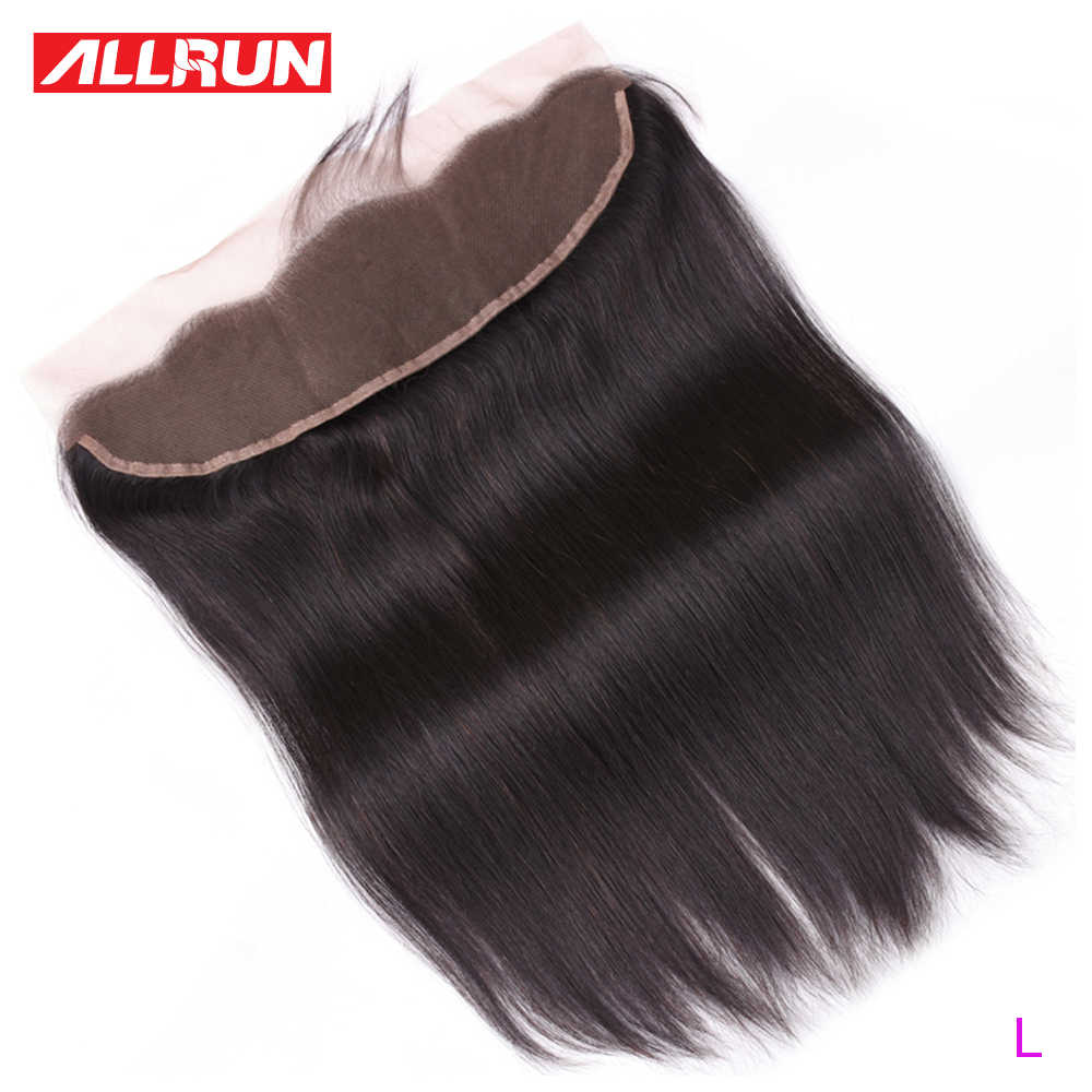 Allrun Brazilian Straight Hair 1 Pc 13*4 Lace Frontal Closure Non-Remy 100% Human Hair Lace Frontal 8-20 Inch Low Ratio