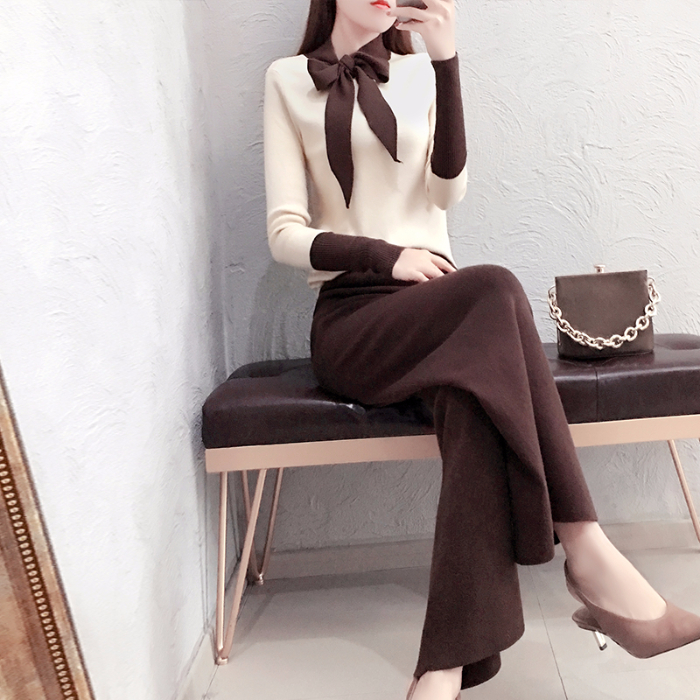 2019 Autumn Winter Knitted 2 Piece Sets Outfits Women Lace-up Sweater Pullover And Wide Leg Pants Suits Elegant Korean Sets 24