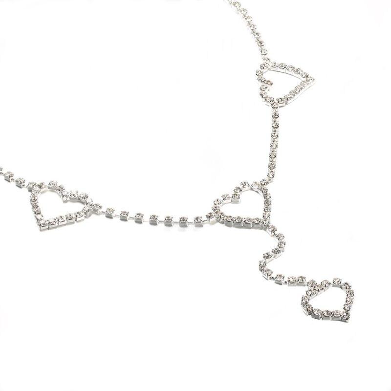 Women Full Jewelry Imitation Crystal Hearts Pendant Waist Belt Sexy Rhinestone Body Belly Chain Summer Bikini Jewelry