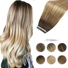 Sıcak satış Balayage saç ekleme insan saç bandı makine Remy brezilyalı Ombre renk kahverengi sarışın çift taraflı yapıştırıcı