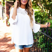 Lace Chiffon Hollow out Patchwork Women Blouses Summer White Casual Tops Long Sleeve Ruffles 2019 Fashion tunic sexy new Shirts