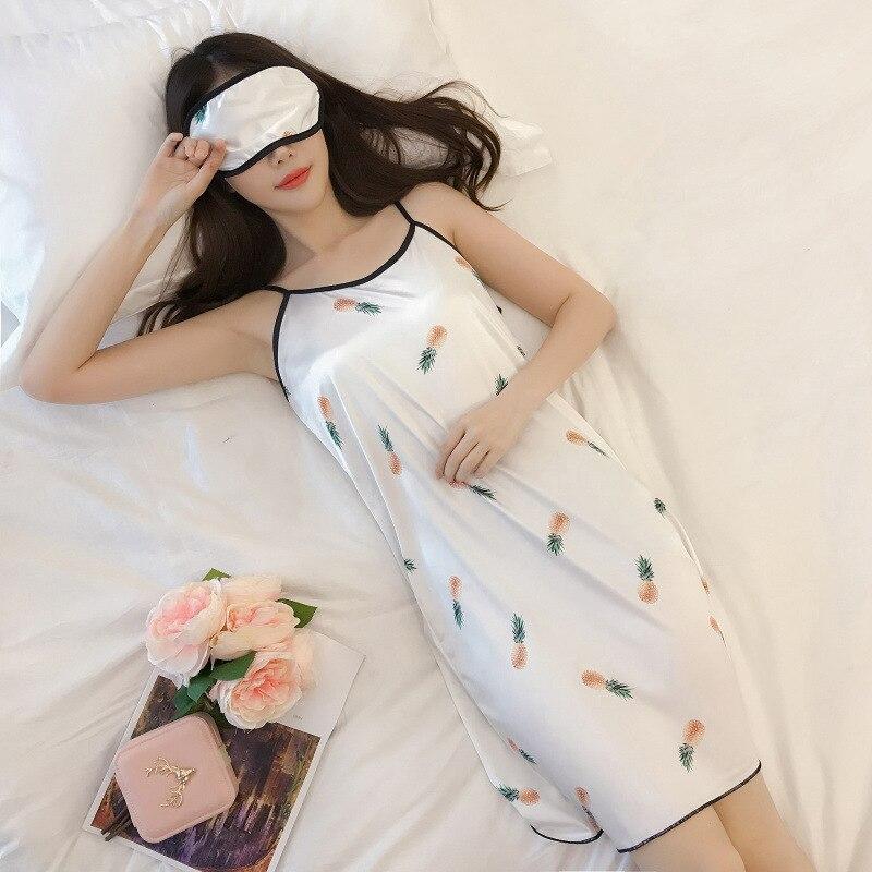 Nightgown Women's Xia Bing Silk Slip Nightdress Summer Imitated Silk Fabric Nightgown Women's Xia Bing Silk Slip Nightdress M -X