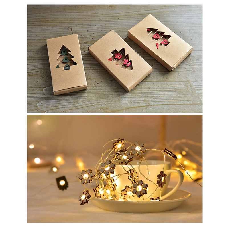 Wooden Fairy String Lights Christmas Design Battery Operated Decorative LED Light String Festive Party Supplies