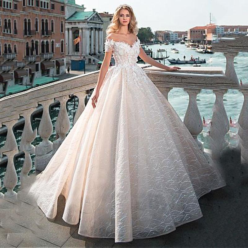 Off the Shoulder 3D Lace Flower Wedding Dress Sweetheart Bridal Ball Gown Custom