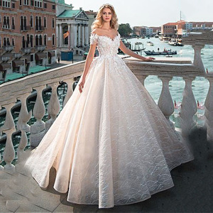 Image 1 - Vintage Ball Gown Wedding Dress  2020 Off the shoulder Lace Beading Bridal Dress 3D Flowers Appliques Princess Wedding Gowns