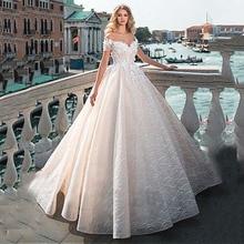 Vintage top cüppe şeklinde gelinlik 2020 kapalı omuz dantel boncuk gelin elbise 3D çiçekler aplikler prenses gelinlikler