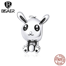 Lucky Easter Rabbit Animal Beads Charms BISAER 925 Sterling Silver Easter Rabbit Charms for Bracelets Jewelry Making GXC1467 pewter rabbit jewelry box silver czech crystal rabbit figurine box antique decor rabbit best birthday gifts