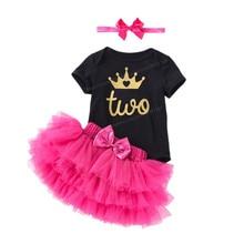 Детское платье на крестины для девочек, платья на 2-й день рождения, подарок на день рождения, платье-пачка для младенцев