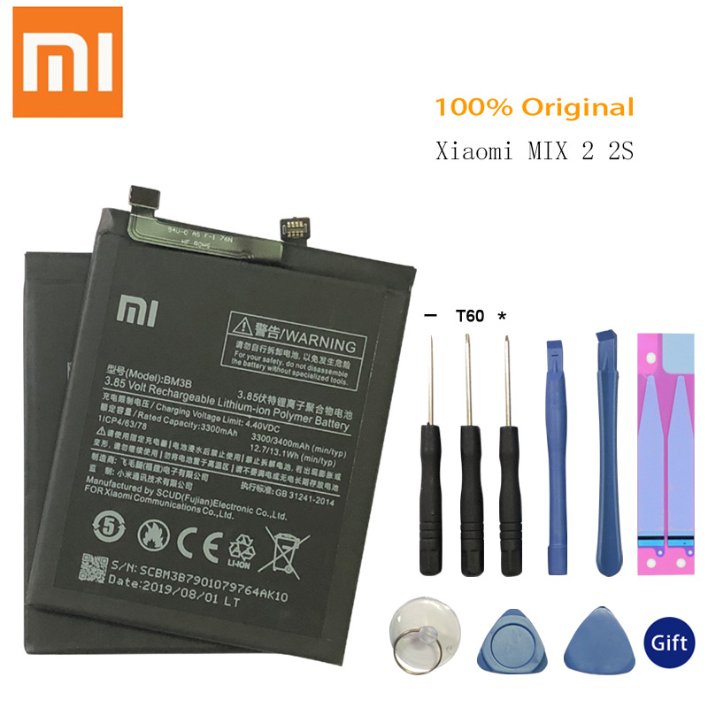 Original <font><b>Battery</b></font> for XIAOMI <font><b>Mi</b></font> <font><b>Mix</b></font> 2 <font><b>2S</b></font> Mix2 <font><b>Battery</b></font> BM3B 3400mAh Replacement Full Capacity Phone <font><b>Batteries</b></font> Free Tools image