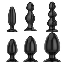 Hot sale Black Silicone Big Butt Plug, 6 Sizes Smooth Soft Huge Anal Plug Adult Erotic Toys Gay Sex for Men Woman