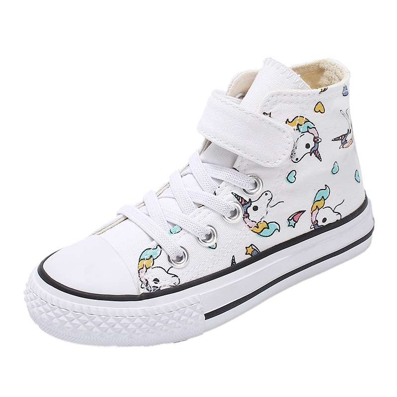 SWONCO Children's Canvas Shoes Boys White Shoes Sneakers High Top 2020 Spring Unicorn High Top White Sneakers For Girl Casual